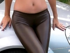 Smoking in Spandex stretch pants with Cameltoe