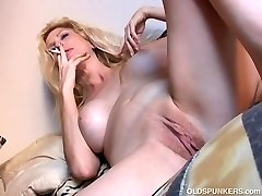 Fantastic old spunker has a smoke & plays with her delicious pussy