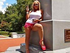 Smoking public upskirts in escort heels