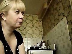 Ash-blonde gives hot smoking handjob blowage