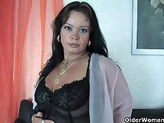 Sleazy moms in harness and stocking having solo sex