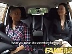 Faux Driving School busty black doll fails test with lesbian examiner