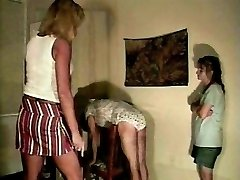 Sissy spanked in his panties by mummy