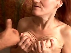 Skinny mature redhead loves to smash and the taste of cum