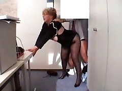 Office Grandmother Porked  in stockings