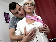 Insane granny with saggy tits fucked by a young guy