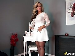 Charming blonde mommy Kellie O Brian demonstrates what she got under her microskirt