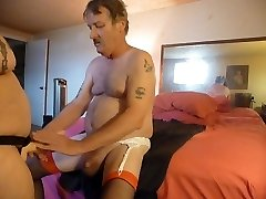fucking my mans bootie with my woman boy cock strapon  part 1