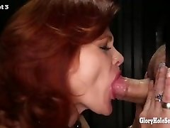 Gloryhole Secrets mature sandy-haired gulps cum