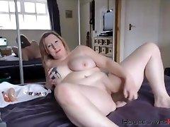BBW mature Carmen with huge tattooed tits rails a dildo
