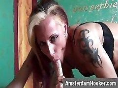 Tattoooed hooker sucks client
