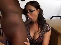 Female brunette white teacher with male black schoolgirl - Interracial