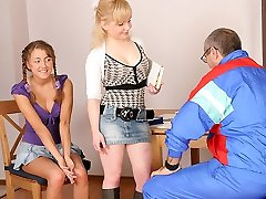 TrickyOldTeacher - Two hot coeds get naked and give mature schoolteacher threesome and gargling