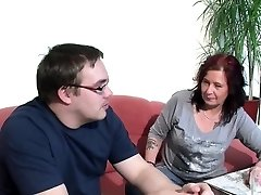 German Mom Helps Her Ugly Step-Son with First Boink