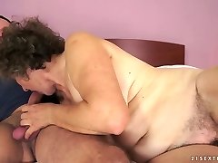 Old biotch Kata takes youthful dick in her ugly old twat