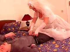 The youthfull groom pound his mature grown bride!