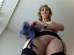 Mature English blonde honey in pantyhose upskirt tease