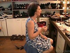 Brunette grandma is boinked upskirt from behind in POV