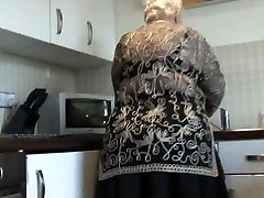 Sugary-sweet grandma shows hairy pussy big ass and her titties