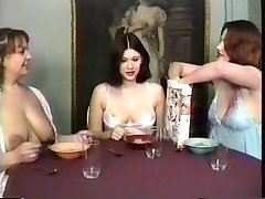 Milf maids having a breakfast and guzzling milk from their own melons