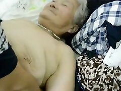 80yr older Japanese Grandmother Still gets Creamed (Uncensored)