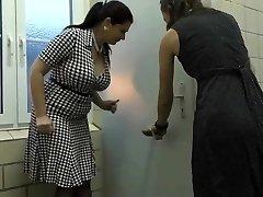 Two mature found a crevice in public toilette