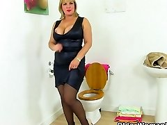 British milf Danielle gets revved on in bathroom