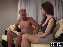Old Young Porn Natural Teen Takes Granddad dick In her pussy