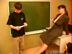 Granny Teacher n Teen Boy