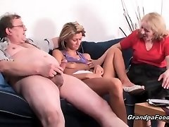 Skinny stunner gets fucked in hard 3some