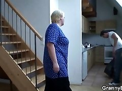 He helps blonde granny