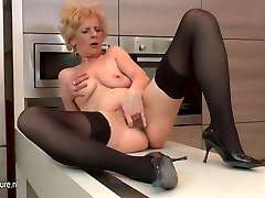 Ugly mature hoe loves to fap in her kitchen