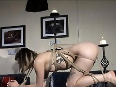Pretty amateur lezdom binds her punk victim with rope