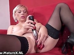Messy old slut gets all horny playing