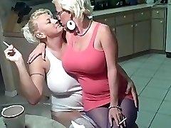 Smoking lesbians giant udders