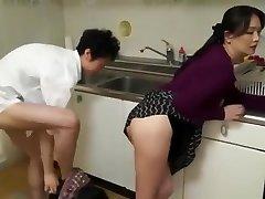 Horny mom observe girl boyfriend do quick fuck in the kitchen