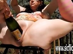 Extreme double fisting and giant bottle injections