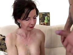 Skinny granny suck and pulverize young boy's cock