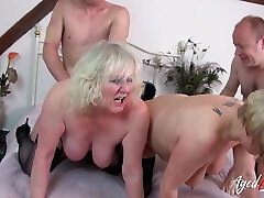 AgedLovE Gang Orgy of Two Mature Couples Together