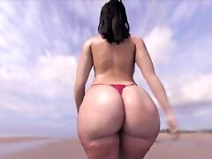 massive booty walking on the Beach