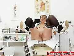 Cougar masturbation with a medical-tool in uniforms