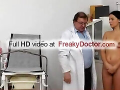 Aged gyn physician spreads hot brunette Lily pussy