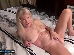 EUROPEMATURE - Grandma Cindy in pantyhose gets naughty