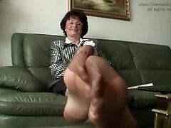 Aunty's stinky nylon feet in my face!