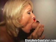 Blonde MILF Gets Gloryhole Creampies In Her Vag and Asshole!