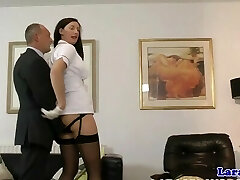 Nurse uniform Cougar gets her pussy pleasured