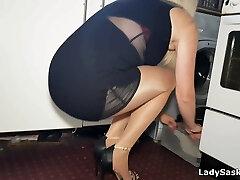 MILF Housework in Nylons - Nymph Saskia