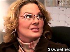Big stacked mature secretary trains her new fabulous mate