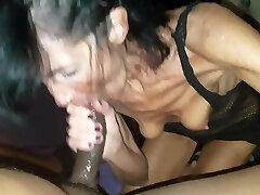 GILF and Big Black Cock wet blowjob