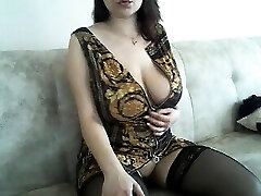 Huge boobs mature girl in slip and stockings